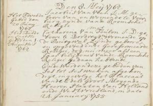 Huwelijk Jacobus van Veen en Catharina van Toulon 1762
