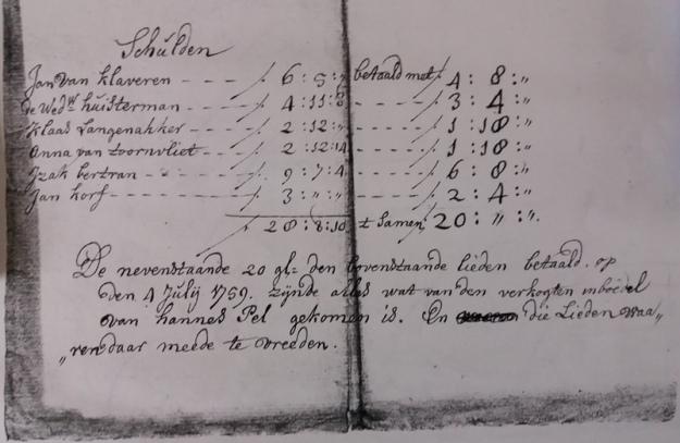 schuldeisers johannes pel 1759